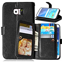 Galaxy S6 Case, Mellonlu Premium Leather Folio Case Wallet Magnetic [9 Card Slots] Case Cover for Samsung Galaxy S6, (Not fit Galaxy S6 Edge) - Black