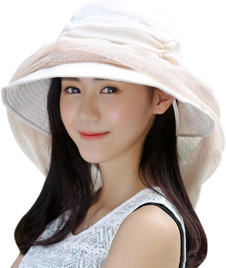 Biene Moskito Gesicht Schutz Kopfbedeckung Fashion Sonnenschutz Anti YJZQ Damen Sonnenh/üte Strand Hut Faltbar Eimer Hut mit Abnehmbarem Schleier Anti-UV-Hut UPF 50