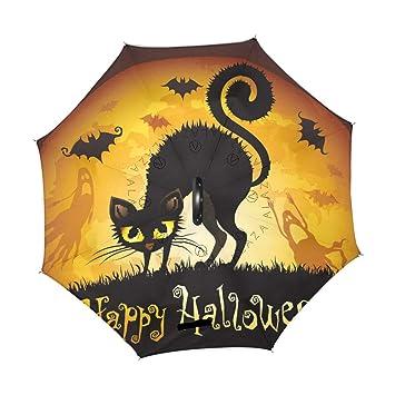 XiangHeFu - Paraguas invertido de doble capa para Halloween, color negro, diseño de gato