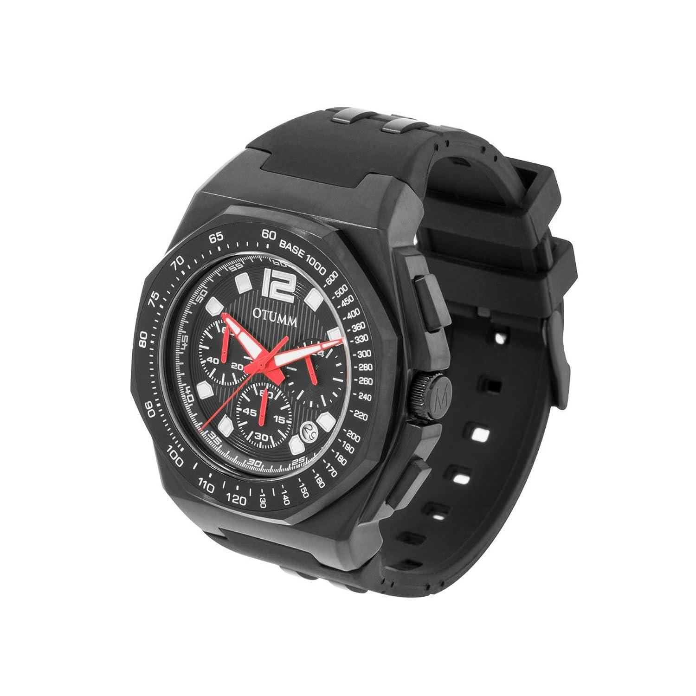 OTUMM Herren-Armbanduhr Sports Tachymeter 45 mm - schwarz Chronograph Quarz Kautschuk 02188