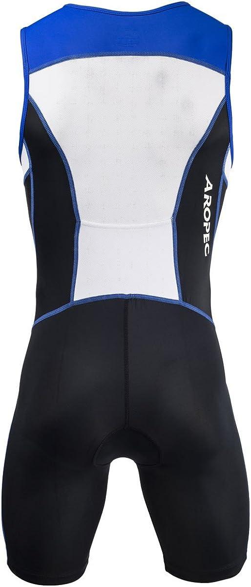 2X-Large Aropec Mens Triathlon Panther Lycra One Piece Tri Suit-Black//Blue//White