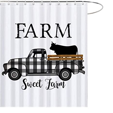 Maezap Farm Sweet Farm Farmhouse Fall Cow Shower Curtain Black And White Check Plaids Truck Bathroom Decor Waterproof Polyester With Hooks 69x70 Inchs