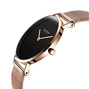 Aesop Simple Women Quartz Watch Ultra Thin Rose Gold Watches on Sale Analog Mesh Strap Ladies