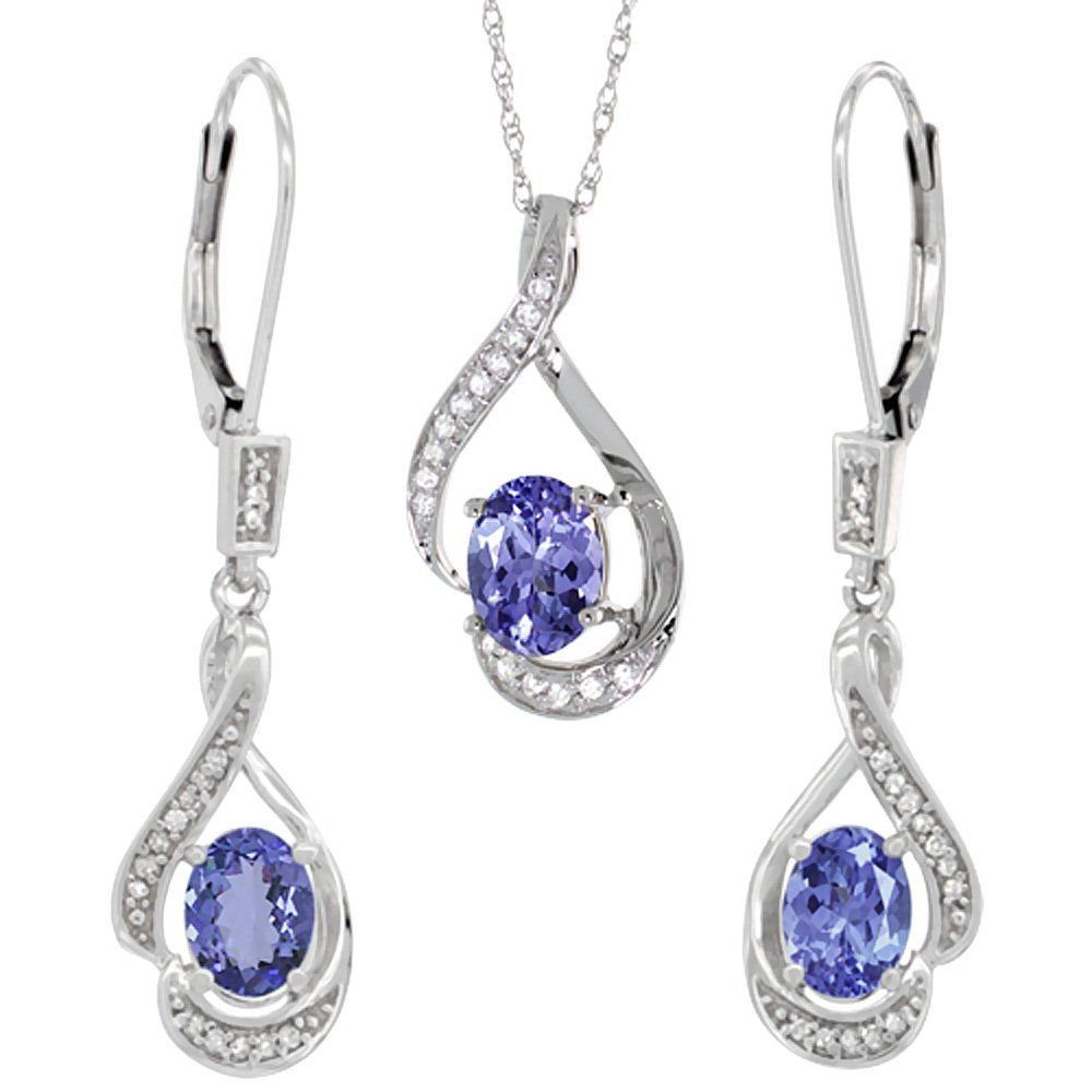 14K White Gold Diamond Natural Tanzanite Lever Back Earrings & Necklace Set Oval 7x5mm, 18 inch long