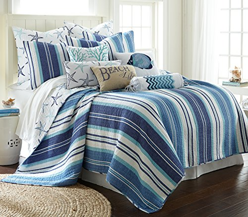 Levtex Camps Bay King Quilt Set, Blue, Cotton
