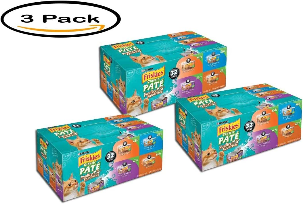Purina Friskies Pack of 3 Classic Pate Poultry Favorites Cat Food Variety Pack 32-5.5 oz. Cans