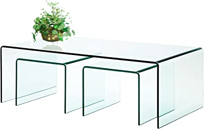Amazon fab glass and mirror glass tables fab glass and mirror 3 piece clear bent 38 thick glass nest tables watchthetrailerfo