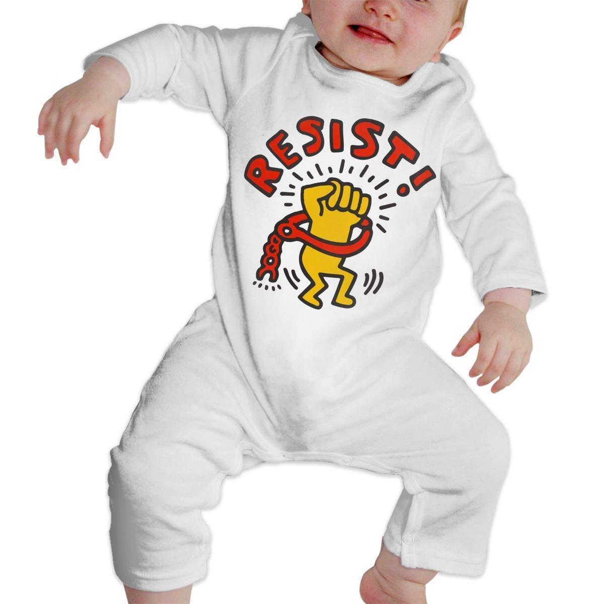 Toddler Baby Boy Girl Jumpsuit Keith Haring Resist Infant Long Sleeve Romper Jumpsuit