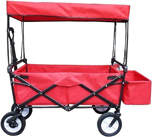 Yuan carretillas Carro Plegable en Las 4 Ruedas - Carrito de Camping Plegable Jardín portátil y Carro de Bricolaje - Capacidad 80KG (Color : Rojo): Amazon.es: Hogar