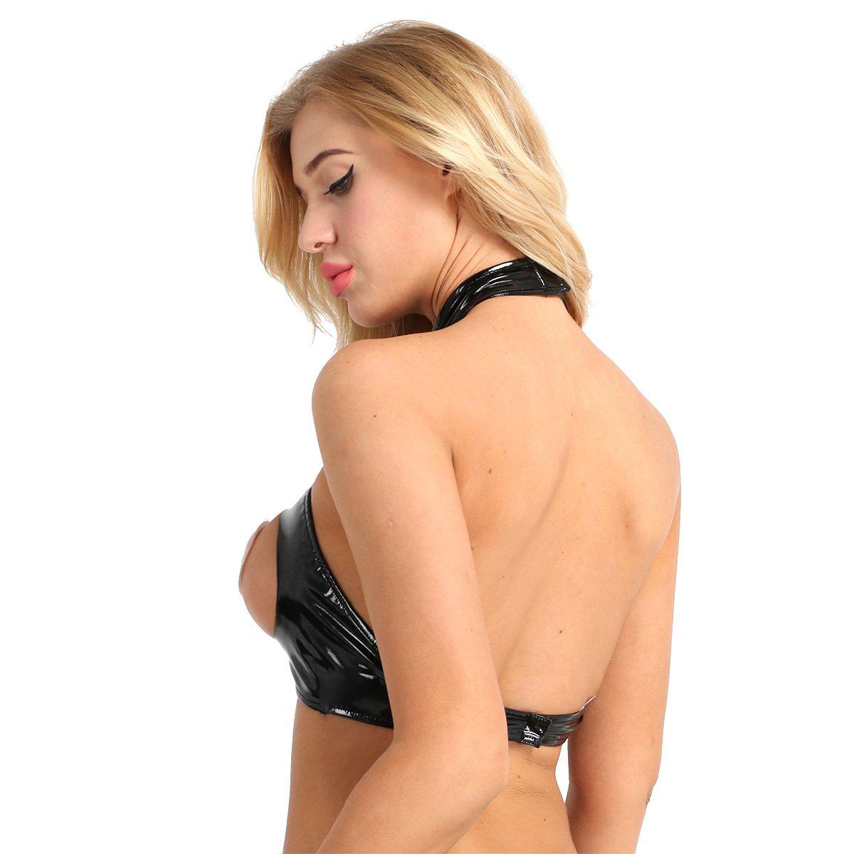 db2512f6d295 Freebily Camisetas Mujer Eroticas Camisetas de Cuero Negro de Mujer ...