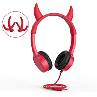 Vogek 2 in 1 Devil/Deer Horn Ear Wired On-Ear Headphones Headsets