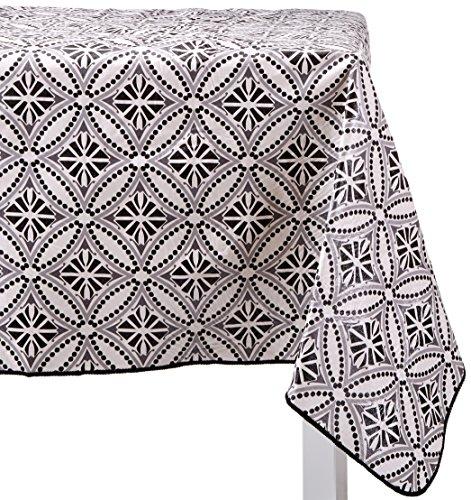 "Farberware Vinyl Spill Proof Outdoor/Indoor Diamond Design Oblong Tablecloth, 60"" x 84"", Gray/Black"