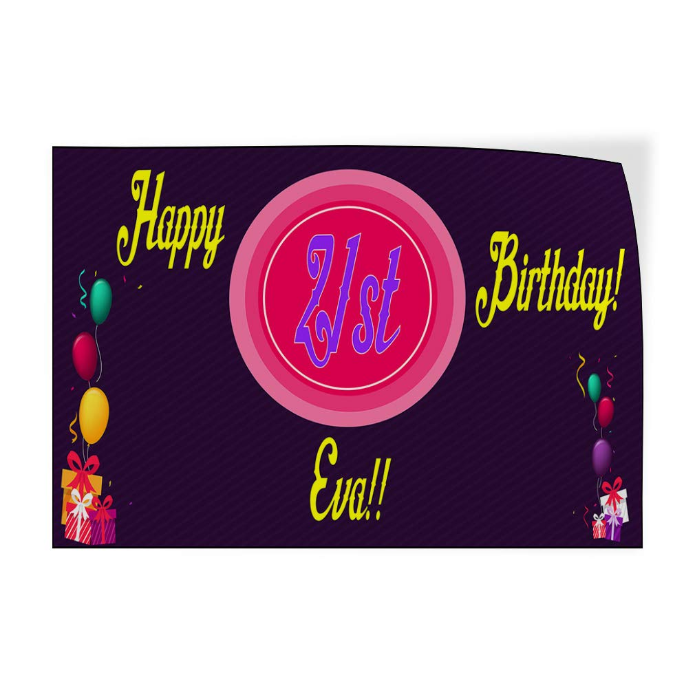 Custom Door Decals Vinyl Stickers Multiple Sizes Happy Age Birthday Girl Purple Lifestyle Happy Birthday Signs Outdoor Luggage /& Bumper Stickers for Cars Purple 14X10Inches Set of 10