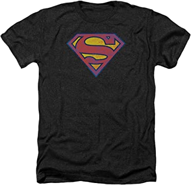 Navy /& Orange Shield Adult Ringer T Superman Shirt