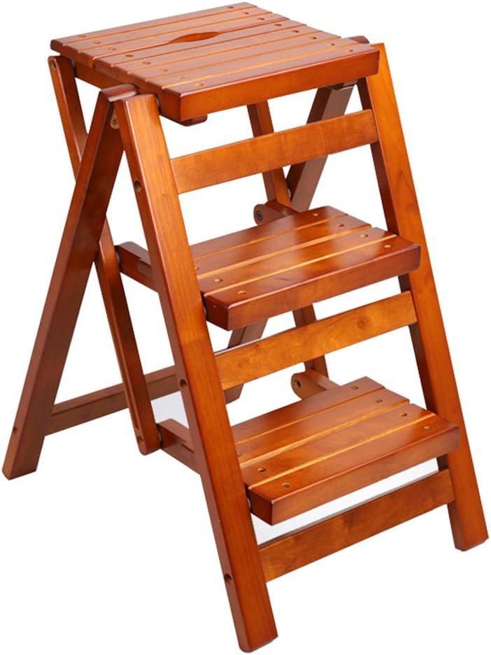 Taburete Plegable de Madera Hogar Multifuncional de Madera Escalera de 3 escalones Taburete Antideslizante de Interior Fácil de Almacenamiento Taburete para escaleras, marrón: Amazon.es: Hogar
