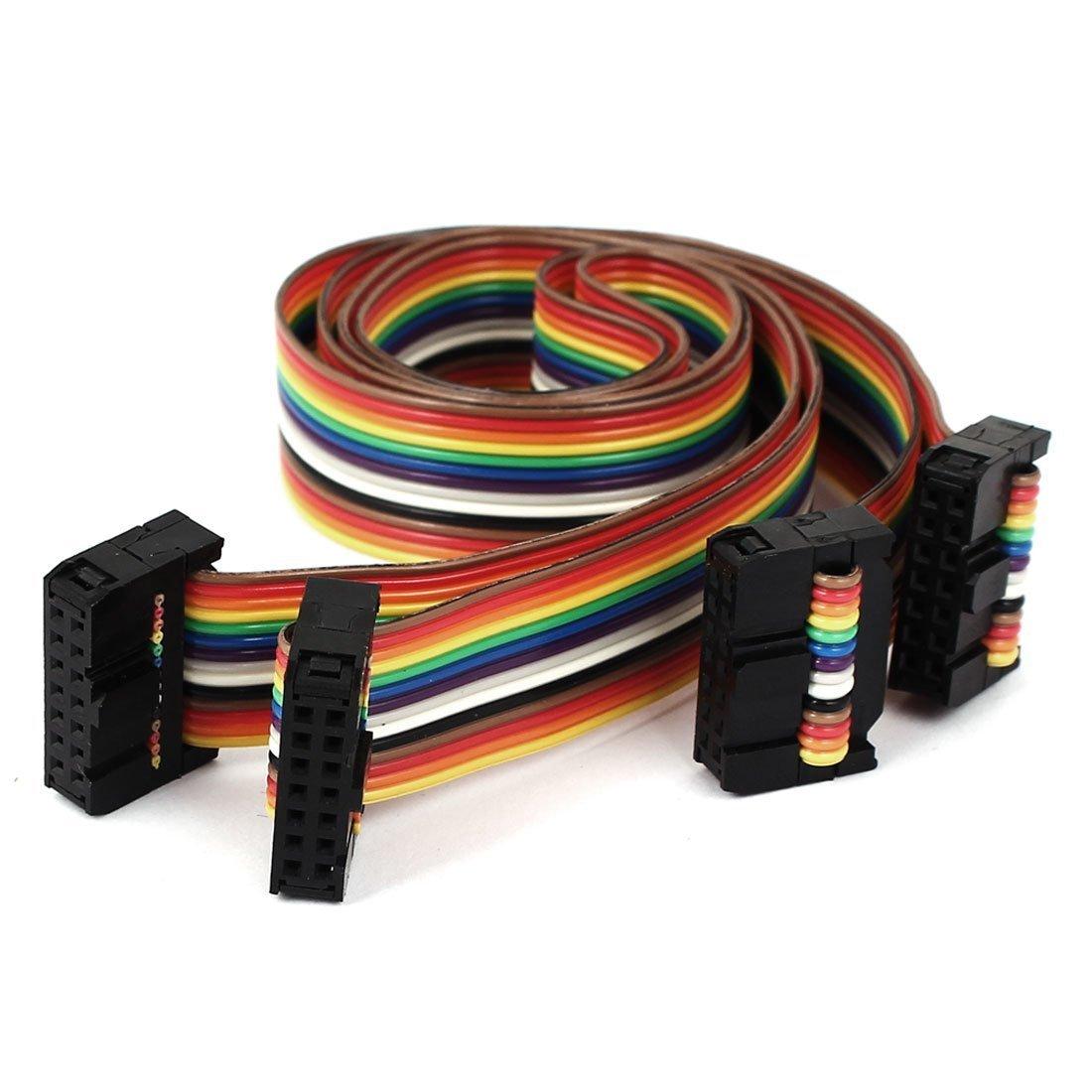 sourcingmap® Conector de cable plano IDC Arco iris Plana 2pcs 43cm 1.4ft 14P 14 forma F/F a16031500ux1748