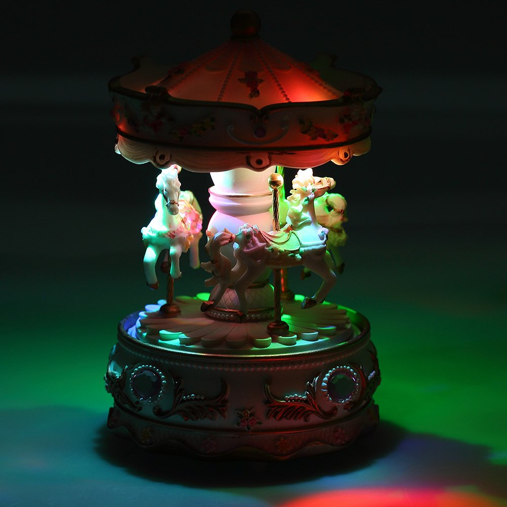 Docooler Mini Carousel Clockwork Music Box Colorful Led Merry Go