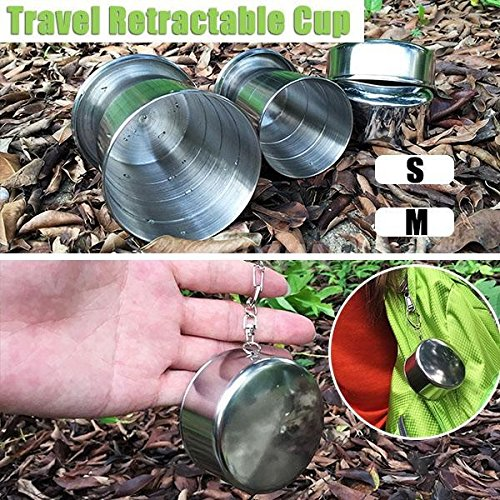 LXBN Stainless Steel Portable Mini Travel Retractable Cup Keychain Telescopic S Size with Retail Packaging H8088 Camping & Hiking Silver M