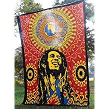 MontrealTapassier SUPER BRIGHT ATTRACTIVE Bob Marley Indian Tapestry Mandala tapestries wall hanging throw decorative wall art coverlet Intricate design Medallion Mandala tapestry hippy wall hanging Gypsy decorative art hippie beach throw