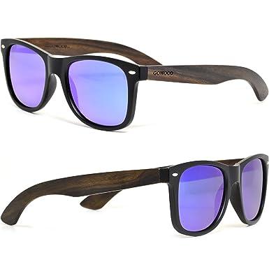 GOWOOD Gafas de sol de madera de ébano para hombre y mujer con frontal negro mate y lentes polarizadas