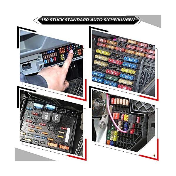 610apI771EL Rovtop 150 Stück Standard Auto Sicherungen KFZ Sicherungen Set maßgebend Autosicherungen 2A 3A 5A 7.5A 10A 15A 20A 25A…