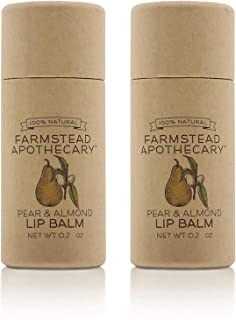 product image for Farmstead Apothecary 100% Natural Lip Balm with Organic Beeswax, Organic Shea Butter & Organic Coconut Oil, Pear & Almond 0.2oz (Pack of 2)