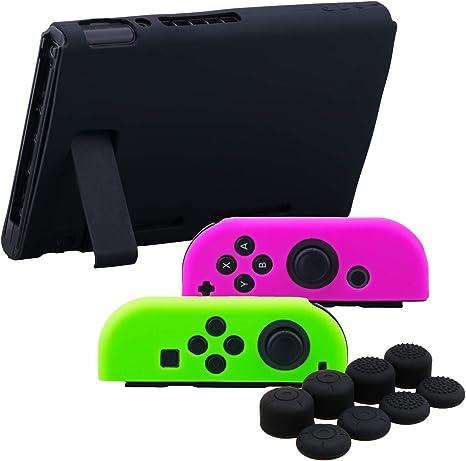YoRHa Empuñadura Silicona Caso Piel Fundas Protectores Cubierta para Nintendo Switch/NS/NX Joy-Con Mando y Tableta (Rosa Verde Negro) con Joy-Con Los Puños Pulgar Thumb Grips x 8: Amazon.es: Videojuegos