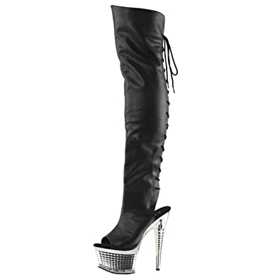 d5ebd27c8 Summitfashions Womens Over The Knee Boots Black Thigh High Boots Open Toe 6  1/2