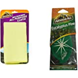 Armor All Combo Pack of All Purpose Microfibre Cloth and Eucalyptus Pine Hanging Air Freshener (Set of 3)