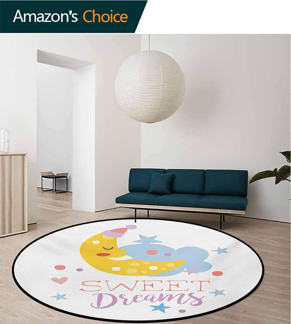 RUGSMAT Sweet Dreams Modern Washable Round Bath Mat,Colorful Illustration with Hand Lettering Quote with Stars and Crescent Moon Non-Slip Bathroom Soft Floor Mat Home Decor,Diameter-55 Inch