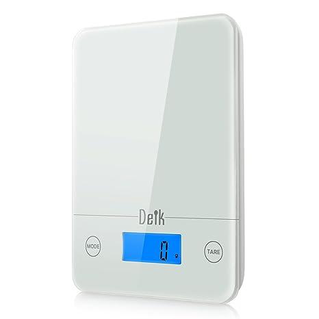 Deik Báscula Digital de Cocina realizada en vídrio Templado Blanco hasta 5 kg / 11 Libras
