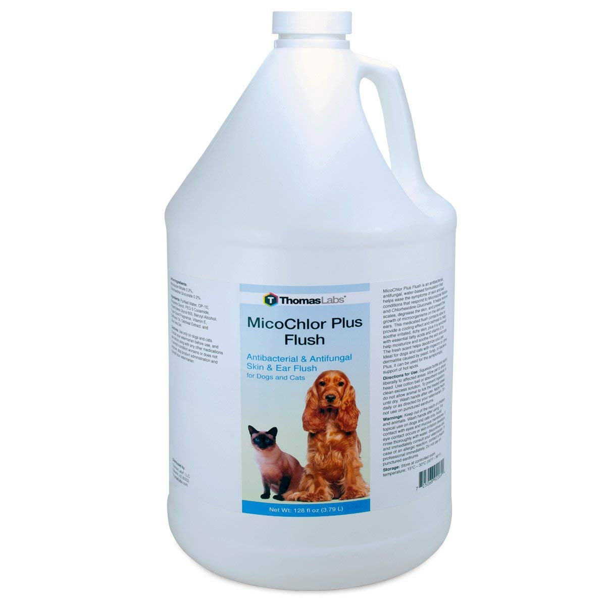 Thomas Labs MicoChlor Medicated Pet Shampoo 1 Gallon - Veterinary-Strength, Antibacterial, and Antifungal Shampoo for Dogs, Cats, and Horses
