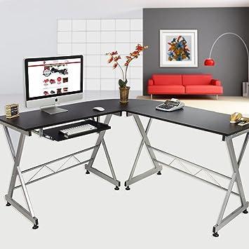 elecwish wood lshape 3 piece corner computer desk large size pc laptop kedboard tray