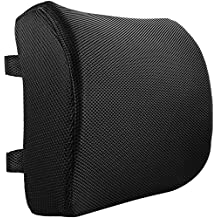 Tadge Goods Lumbar Support Lower Back Cushion Pillow - Great Straps for Office Chair and Car - For Sciatic Nerve Pain Relief | Thick, Comfortable 100% Memory Foam | Ergonomic, Orthopedic Design