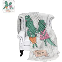 RenteriaDecor Wedding Throw Blanket Couple Crocodiles in Love Digital Printing Blanket