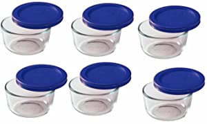Pyrex Storage 1 Cup Round Dish, Clear with Blue Lid, Pack of 6 Containers