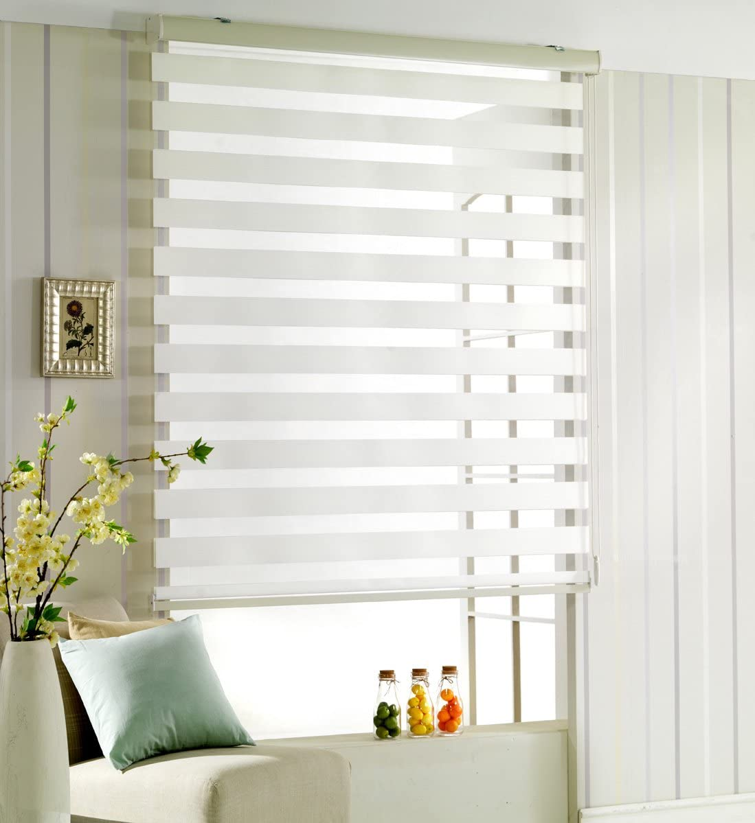 Foiresoft Custom Cut to Size, Winsharp Woodlook 107, White, W 79 x H 99 inch Zebra Roller Blinds, Dual Layer Shades, Sheer or Privacy Light Control, Day and Night Window Drapes, 20 to 110 inch Wide