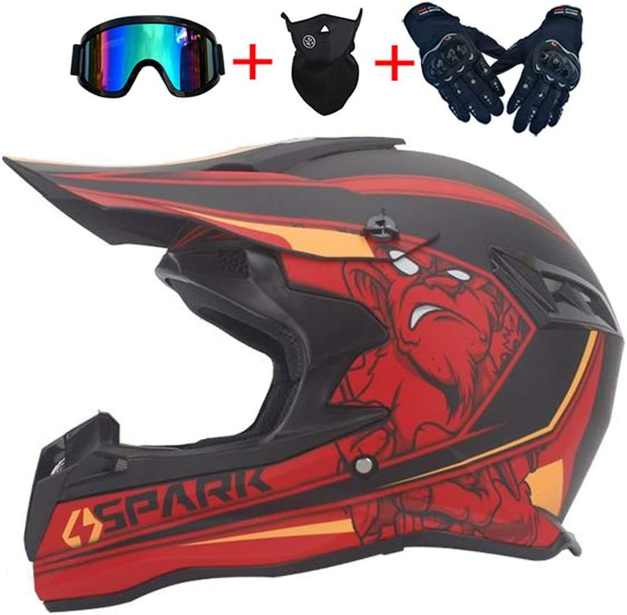 Intercom Moto Bluetooth /Écouteur Casque Cross Set avec Lunettes//Gants//Masque Full-Face Casque de Moto Off-Road Enduro VTT ATV BMX Downhill Racing Casques LEENY Casque de Motocross