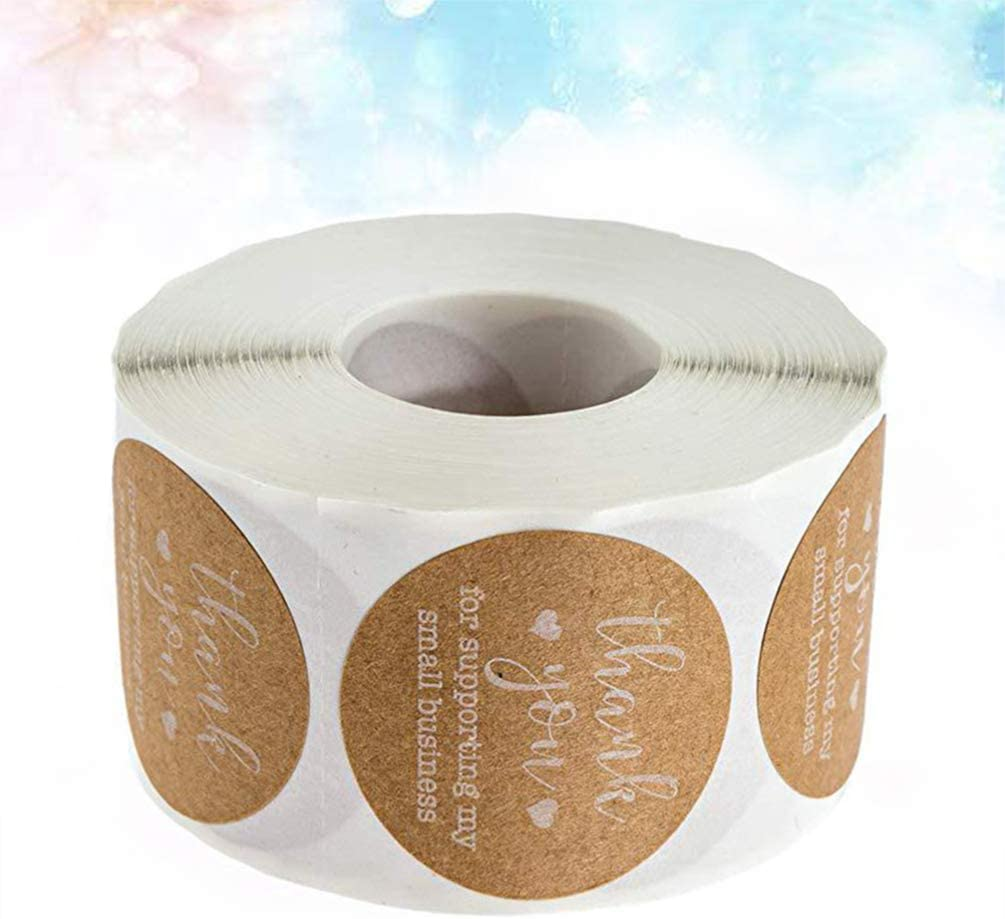 HEALLILY adesivi di tenuta in carta kraft grazie rotoli decalcomanie etichette rotonde per cottura confezione busta 500 1 rotolo