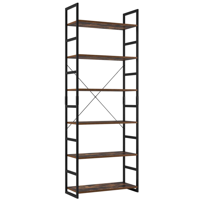 Homfa Ladder Shelf 6-Tier Bookshelf Industrial Bookcase Storage Rack Shelving Unit Plant Stand with Metal Frame 70x30x194.5cm