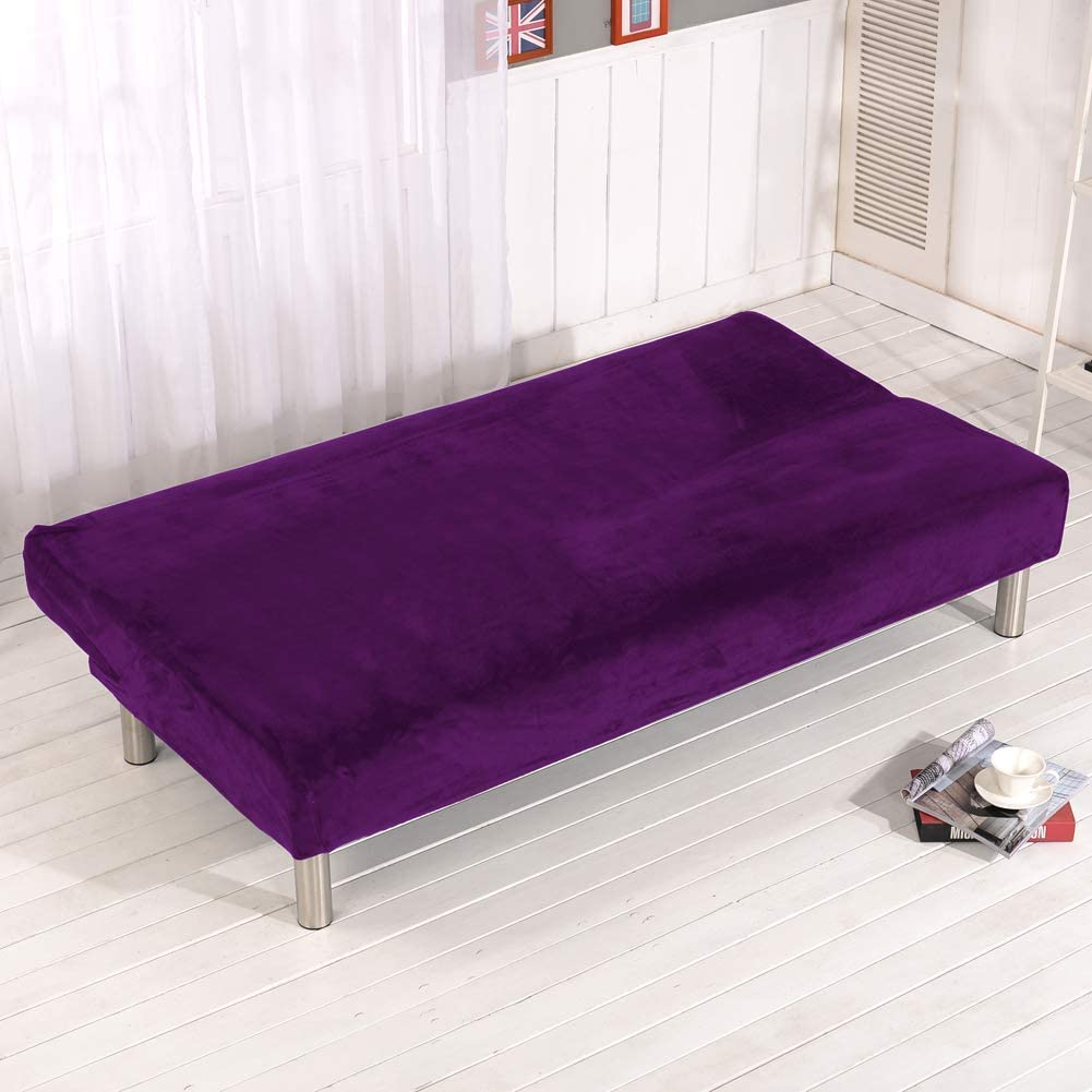 KongEU Armless Sofa Bed Cover,Solid Color Sofa Covers,Soft Plush Fabric Elastic Thickened All-Covered Slipcovers 3 Seater Folding Couch Protector-Green Violet