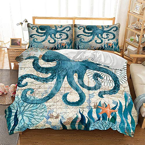 HANSUNBA 3D Printing Sea Animal Series Dolphin Sea Turtle Whale Seahorse Octopus 3PCS Kids and Adult Duvet Cover Quilt Cover Set(No Comforter) Single/Twin/Double/Full/Queen/King Size - Cover Duvet Series