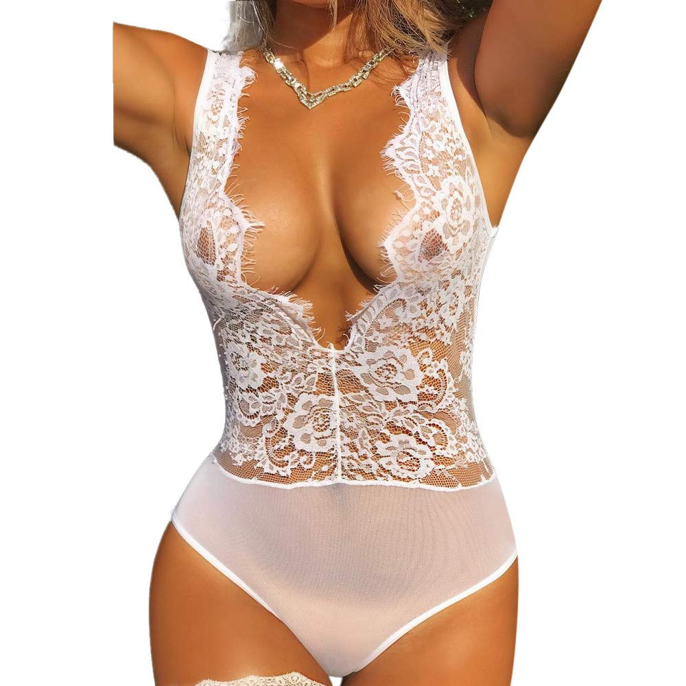 7e7f808cb1f2b Amazon.com  Women s See-through Lingerie Corset for Sex Play Clearance  -Jiayit Sexy V-Neck Lace Mesh Babydoll Plus Size Lingerie One Piece for  Women  Beauty