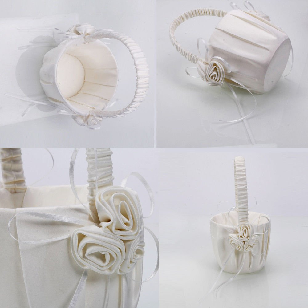 New Beatiful Satin Bowknot Flower Girl Basket for Wedding Ceremony Party Ivory