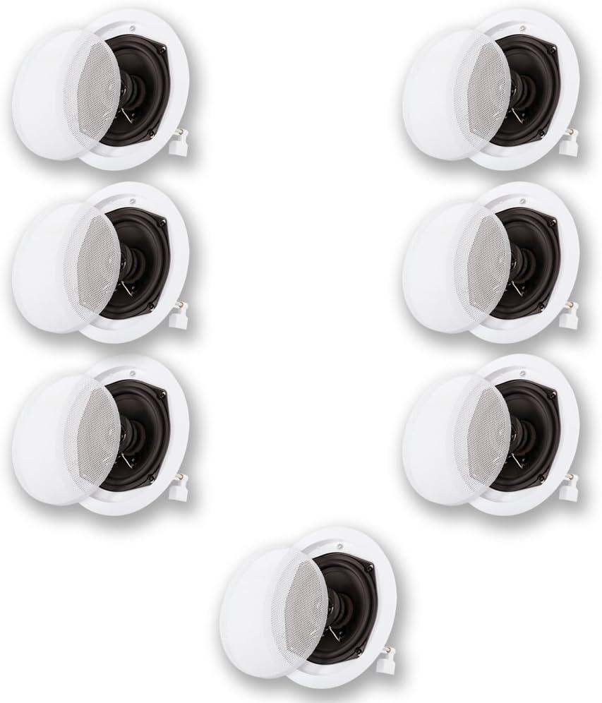 Acoustic Audio R191 in Ceiling/in Wall 7 Speaker Set 2 Way Home Theater 1400 Watt R191-7S