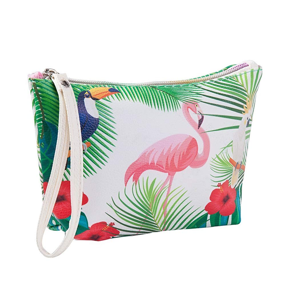 Da.Wa Trousses de Toilette pour Les Femme-Flamingo-Sac Cosmétique de Voyage Multifonctionnel Sac cosmétiques Organiseur - PU - Flamingo + Feuilles