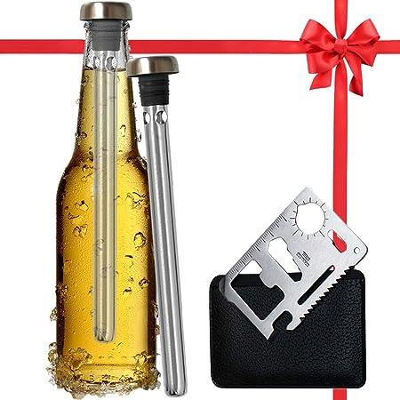 Best Beer Chiller Stick Pack de 2 – Abridor de botellas de regalo incluido – Top único enfriador