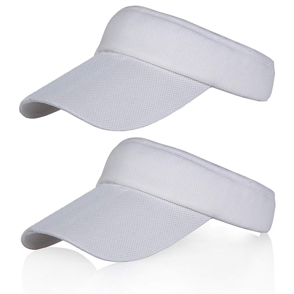 White Sun Visors for Girls and Women, 2Pack Long Brim Thicker Sweatband Adjustable Hat for Golf Cycling Fishing Tennis Running Jogging Sports by Veatree