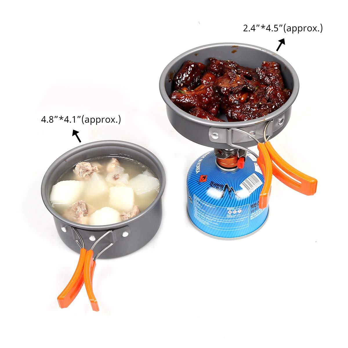 Goetland Multi-PCS Ustensiles de Cuisine de Camping Set de Cuisson Antiadh/ésive Aluminium Anodis/é Casseroles Pliantes Pique-Nique BBQ Randonn/ée