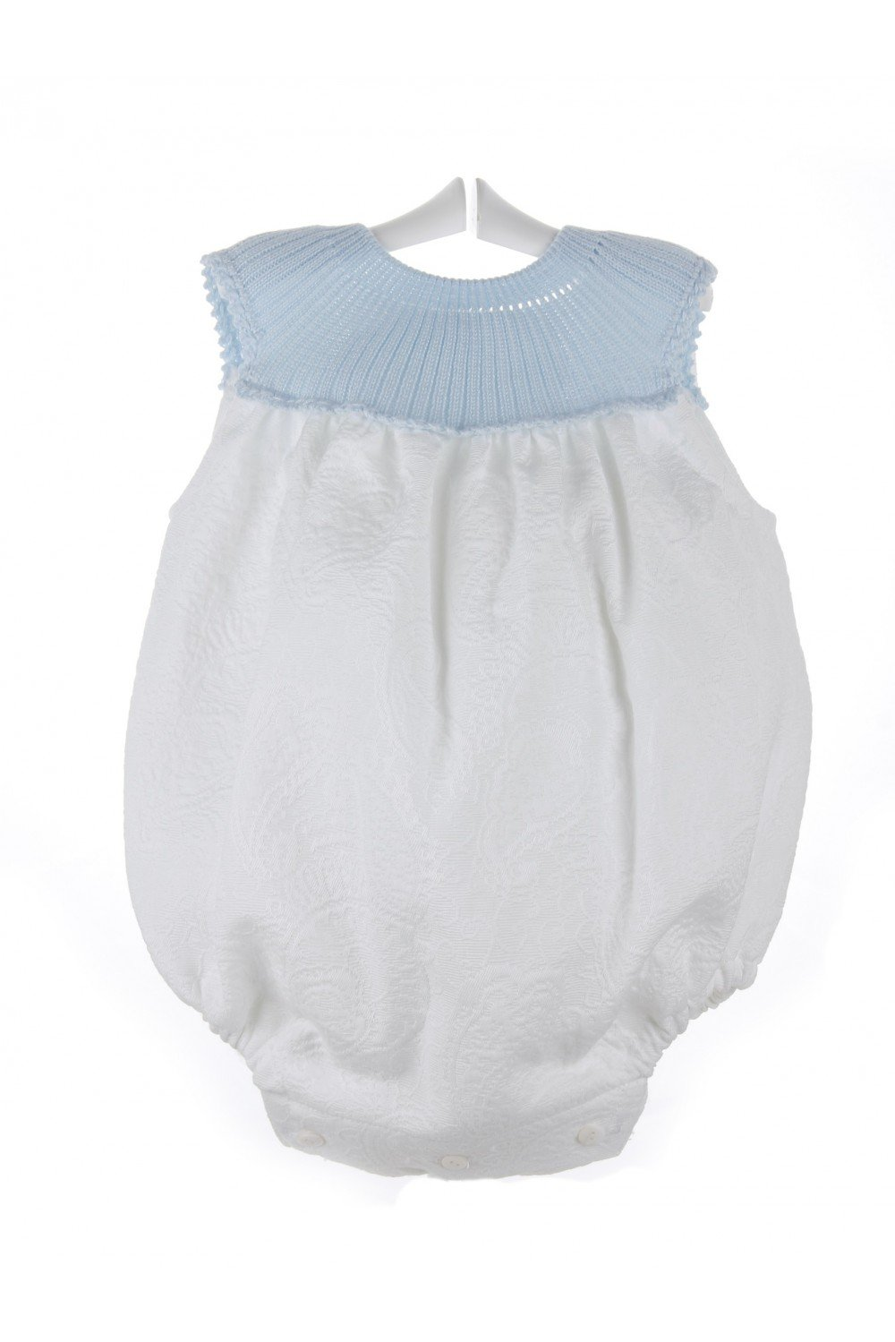 Isabel Maria - Ranita para bebé de piqué brocado - 3 meses, Celeste y blanco: Amazon.es: Bebé